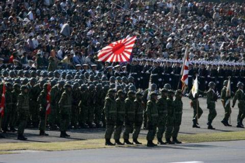 日本自卫队阅兵式(资料图)