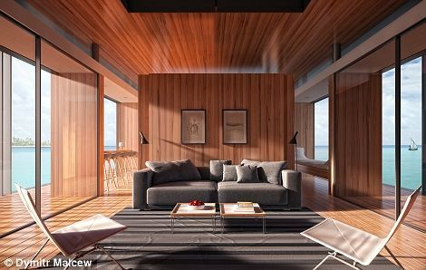 此屋建在巨型浮板上,能在水面浮动,全透明落地玻璃外墙方便住客360度感受被水环绕的快感。