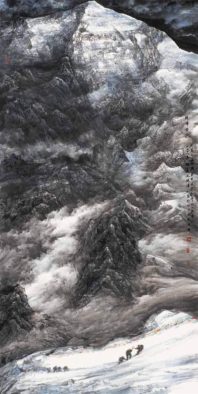 珠峰圣火 尼玛泽仁 /  Holy Fire on Mount Everest Nima Zeren / 248cm×124cm