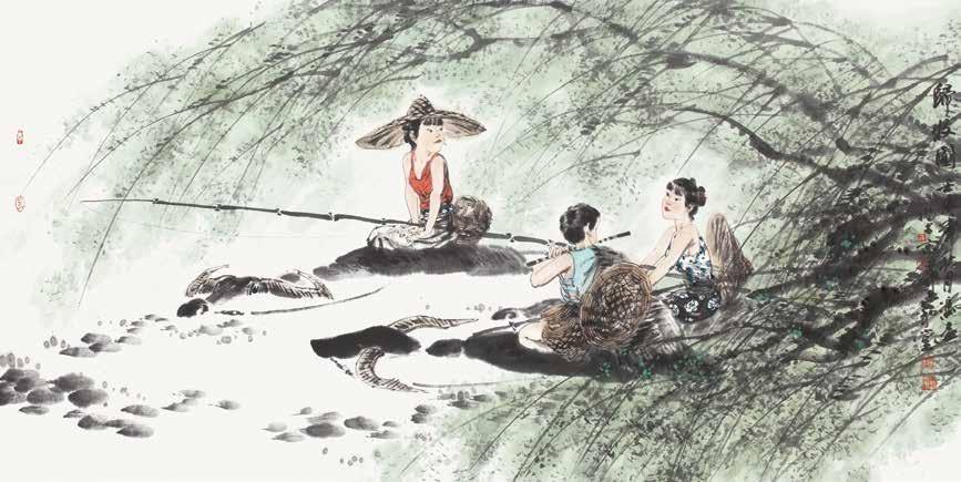 归牧图 冯远 Coming Back from Grazing Feng Yuan / 68cm×136cm