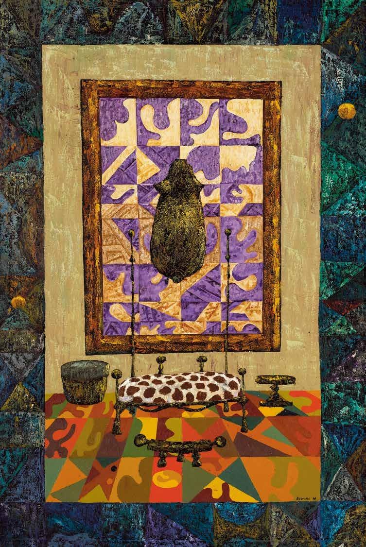 非洲的客厅 约瑟夫·里尔博(坦桑尼亚) /  African Leaving Room Joseph Lyombo (Tanzania) / 197cm×145cm