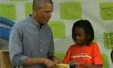 奥巴马遭小学女生嫌弃 尴尬打圆场