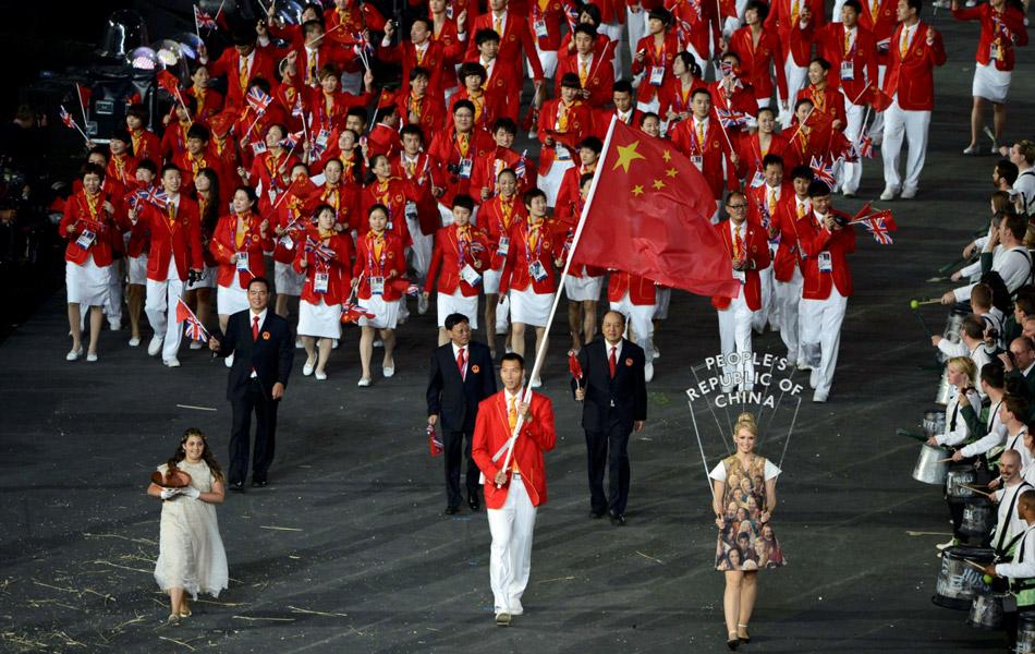 2012伦敦奥运开幕式,中国队入场。