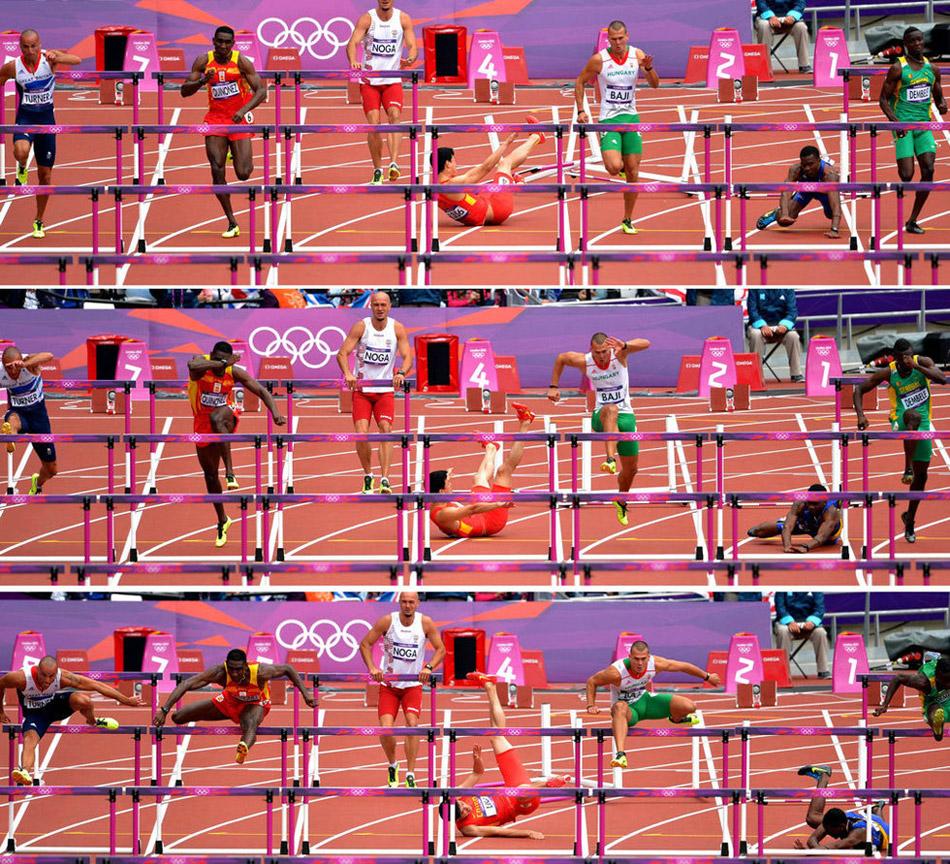 8月7日,伦敦奥运会男子110米栏预赛,中国选手刘翔意外摔倒,无缘晋级。