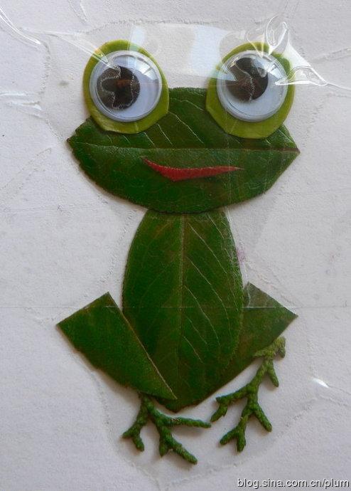 树叶粘贴画图片大全 青蛙
