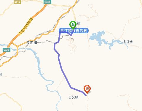 海南昌江县行政地图