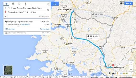 谷歌地图开始提供朝鲜境内导航服务