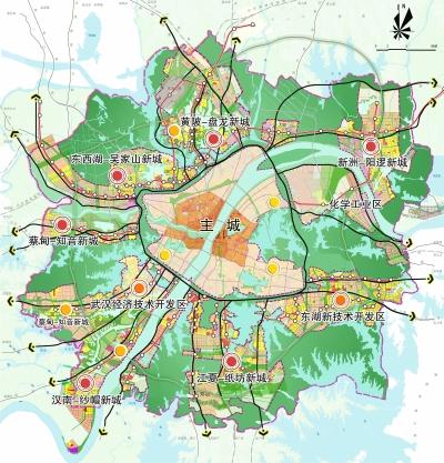 武汉市现代新城空间结构图
