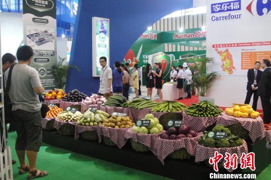 瓜果蔬菜在采购会现场 新鲜 陈列 孙莹 摄 高清图片