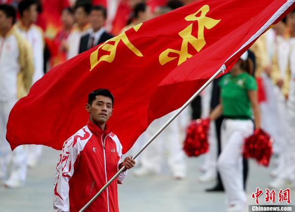 第十二届全运会开幕 张继科担任山东代表团旗手