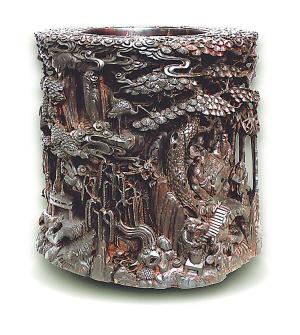千年紫檀根雕大笔筒诞生记