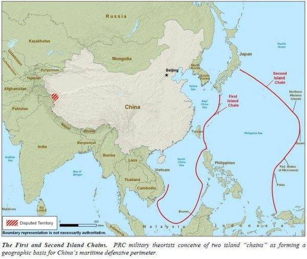 """两条岛链""""海上马奇诺防线""""-与中国的冲突 前景,后果与威慑策略"""