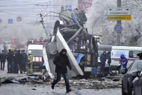12月30日,俄罗斯伏尔加格勒的无轨电车爆炸现场。图/IC