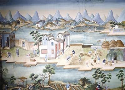 """关于稻米种植的手绘墙纸,中国制,约1784年,由""""中国皇后""""号带给莫里斯."""