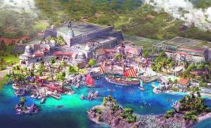 """上海迪士尼乐园""""加勒比海盗——沉落宝藏之战""""效果图。"""