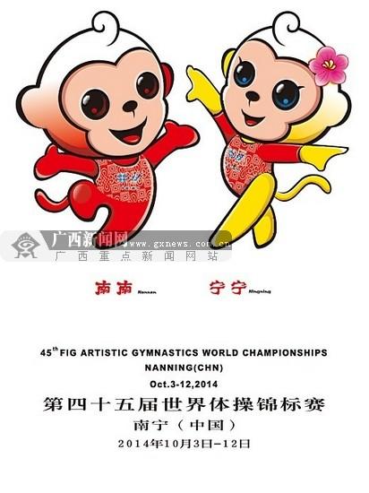 """第四十五届世界体操锦标赛吉祥物""""南南"""",""""宁宁""""."""