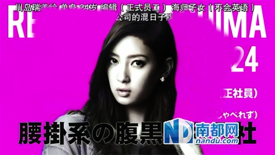 T O P 5川島瑞美繪,單身,24歲,編輯(合同工),海歸子女(不會英語),靠關系進公司的混日子腹黑女。