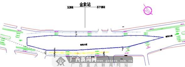 南宁地铁2号线金象站围挡封闭施工示意图。