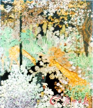 看得见动物的花园(漆画)     林涓