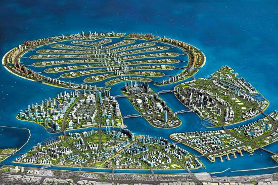 迪拜棕榈岛是由朱美拉棕榈岛,阿里山棕榈岛,代拉棕榈岛和世界岛4个