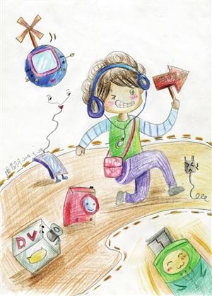 作者 周芳羽 年龄 10岁 作品名称 数码宝贝 我喜欢画画,喜欢这种线条带出来的那种美感;我喜欢数码玩具,喜欢电流滴滴的声音.