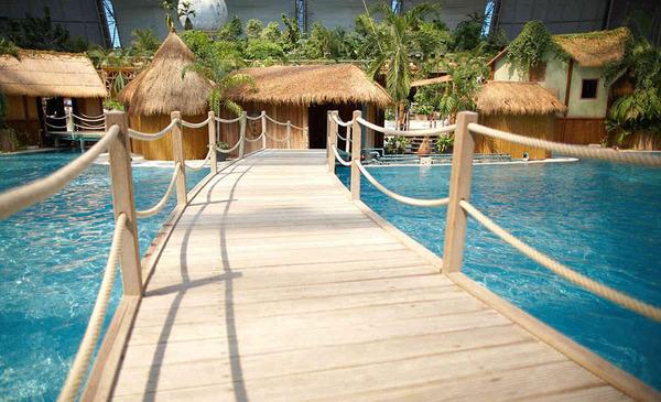 图为园内建造的巴厘岛景区,其中包括棕榈树和巴厘岛特色的小屋.