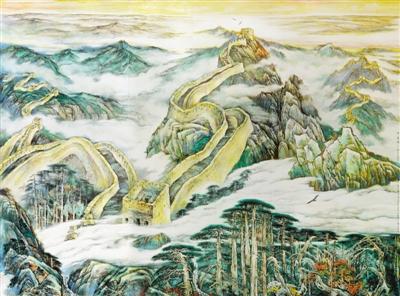图为钟开天壁画《中华魂——万里长城图》.