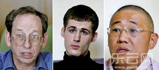 朝鲜拘押的3名美国人(从左至右):杰弗里·福尔,马修·米勒和裴俊浩.