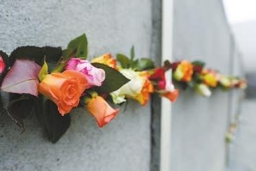 一束束玫瑰花被装点在柏林墙原址上