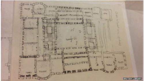 它夹在德国汉诺威宫档案卷里,是墨笔在铅笔勾勒的建筑设计图上描绘而