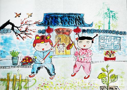 儿童星空颜料绘画作品