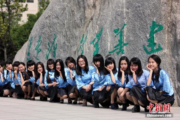 学生装的周口师范学院毕业生在拍摄各种造型的照片