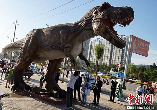 甘肃街头巨型 恐龙 市民穿越恐龙时代