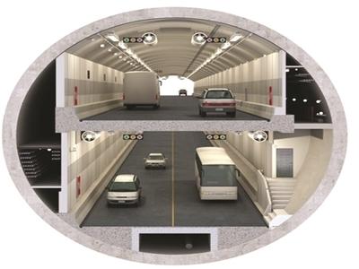 """纬三路过江隧道为""""双管双层八车道""""结构."""