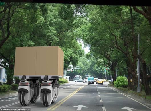 这是两辆Transwheel组合运送较大包裹的艺术构想图。Transwheel依靠GPS导航,而且会发送通知告诉业主货物快到了。(图片:《每日邮报》)
