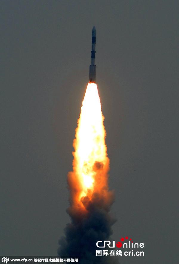 当地时间2015年9月28日,印度斯里赫里戈达岛,极轨卫星运载火箭(pslv
