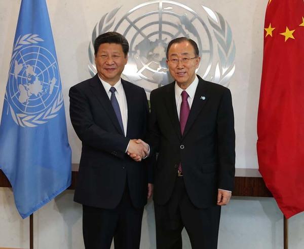 图为:2015年9月26日,国家主席习近平在纽约联合国总部会见联合国秘书长潘基文。