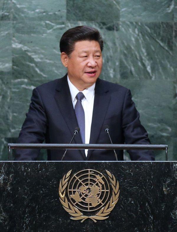 图为:2015年9月26日,国家主席习近平在纽约联合国总部