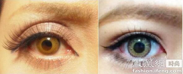 伪妆混血素颜深邃大眼第一步:黑色+咖色眼影制造欧美