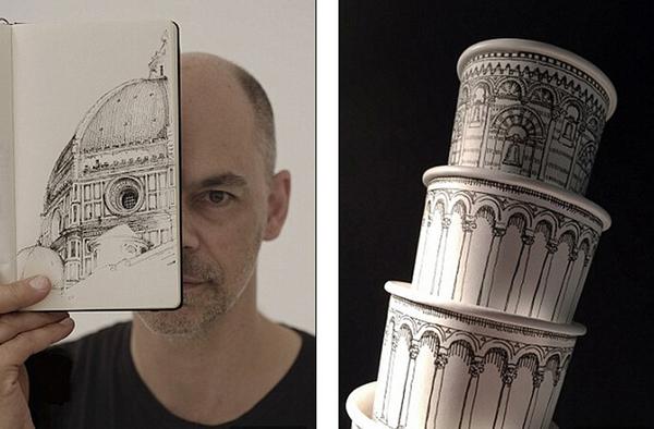 """澳大利亚艺术家用纸杯搭建""""比萨斜塔""""(组图)图片"""