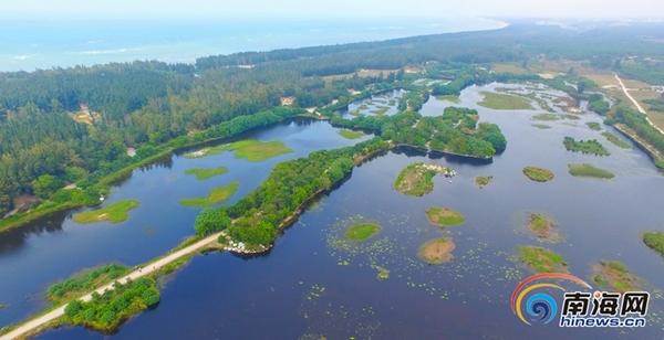 (图)高空绘制位于昌江的海南西海岸海尾湿地公园cad多鸟瞰在段线如何圆里面图片
