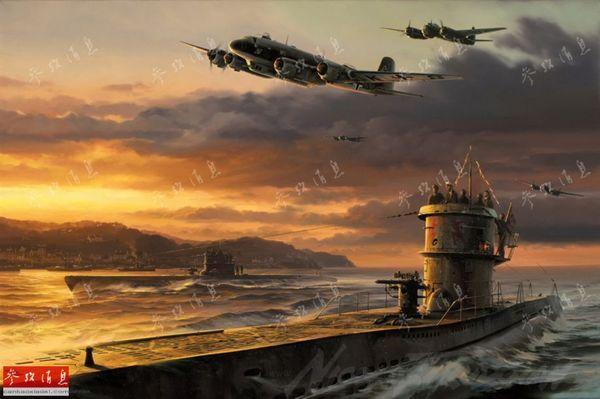 """本图中绘制了二战时期,纳粹德国在大西洋上最主要的2种""""盟军舰艇"""