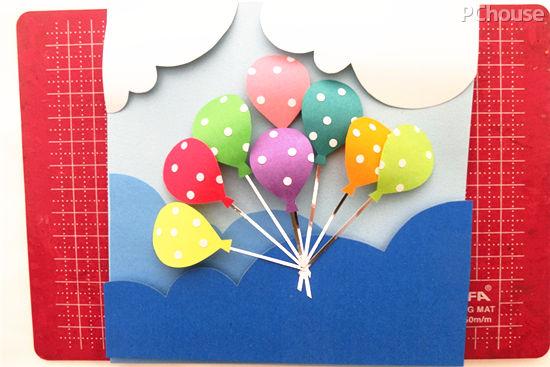 可爱纸艺diy教程 缤纷气球立体贺卡