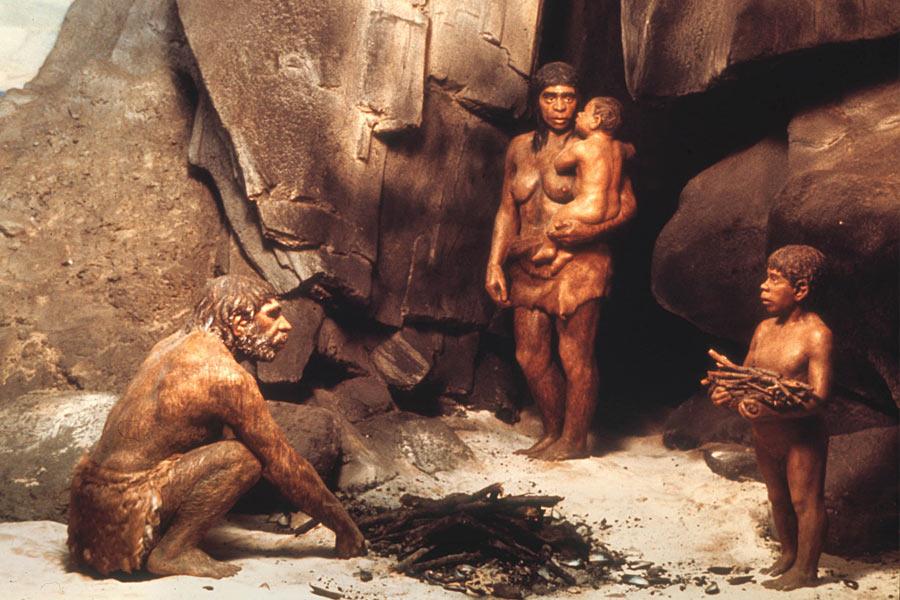 40万年尼安德特人就已经开始用火,英国的Beeches Pit中发现加热燧石碎片,高温加热的骨骼以及少量的加热沉积物。尼安德特人用火加热桦树皮中的粘稠液体制成沥青,然后用其将把手固定在石器上。