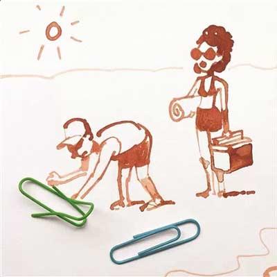 回形针沙滩椅.-实物与涂鸦玩出创意漫画 立体创意简笔画火爆朋友圈