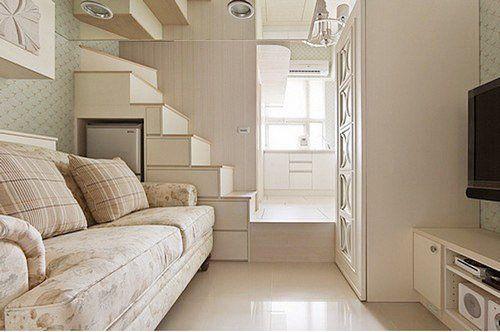 小户型地装修设计案例,超大胆超出位,17平米地小房间居然敢做高清图片