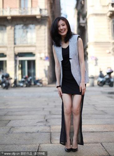 高圆圆米兰时尚街拍 甜美笑容绽放东方美