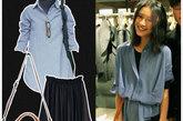 淡蓝色永远是知性的颜色,配以黑色的百褶长裙和棕色邮差包,凸显气质就靠它!