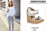 白色坡跟鞋虽然简单,但是搭配一些鞋面上的碎花图案,或是融入一些镂空的设计,还是会带来不一样的风格。