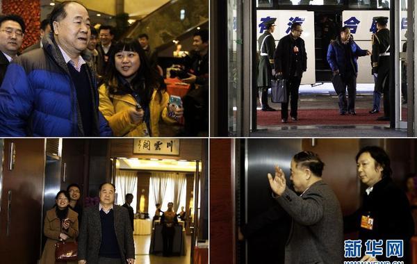 """3月1日,记者在北京铁道大厦""""围堵""""全国政协委员莫言。中午就餐结束后莫言对记者道了声""""辛苦""""。右上:莫言回到位于北京铁道大厦的驻地。左下:在北京铁道大厦,全国政协委员莫言(前右)前往餐…"""